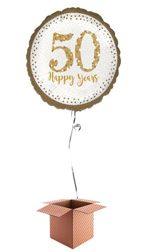 Sparkling Golden 50th Anniversary Round Foil Balloon - Inflated Balloon in a Box Product Image