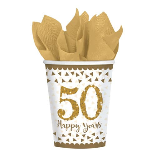 Sparkling Golden Anniversary Paper Cups 266ml - Pack of 8