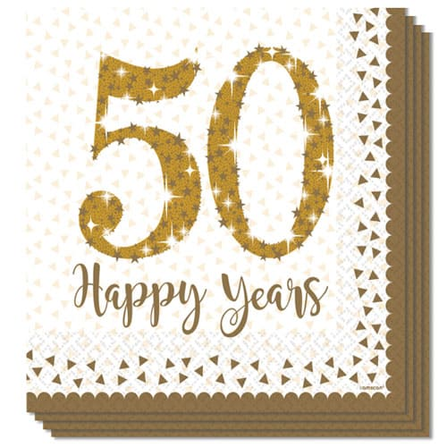 Sparkling Golden Anniversary Paper Luncheon Napkin 33cm 2 Ply Pack of 16