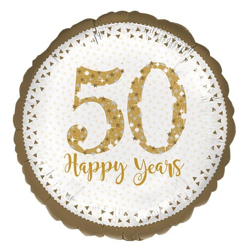 Sparkling Golden 50th Anniversary Round Foil Helium Balloon 43cm / 17Inch Product Image