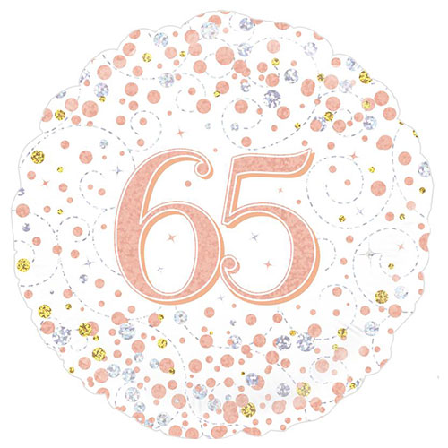 Sparkling Rose Gold 65th Birthday Holographic Round Foil Helium Balloon 46cm / 18 in
