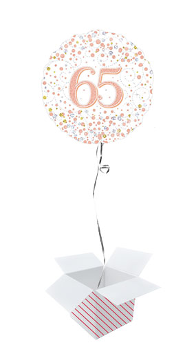 Sparkling Rose Gold 65th Birthday Holographic Round Foil Helium Balloon - Inflated Balloon in a Box Product Image