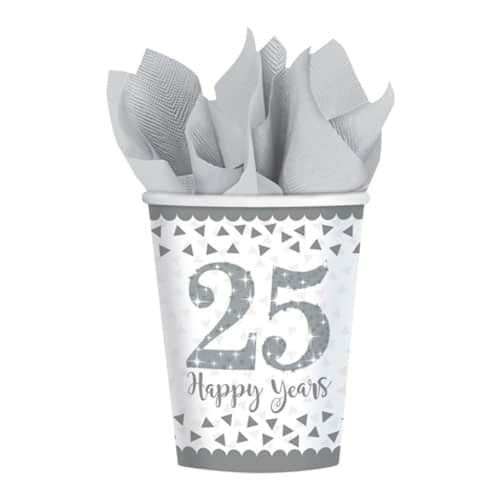 Sparkling Silver Anniversary Paper Cups 266ml - Pack of 8