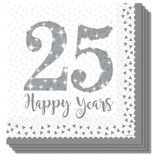 Sparkling Silver Anniversary Paper Luncheon Napkin 33cm 2 Ply Pack Of 16 Bundle Product Image