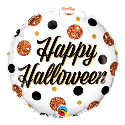 Sparkly Dots Halloween Round Foil Helium Qualatex Balloon 46cm / 18 in Product Image