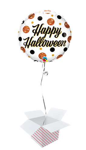 Sparkly Dots Halloween Round Foil Helium Qualatex Balloon - Inflated Balloon in a Box
