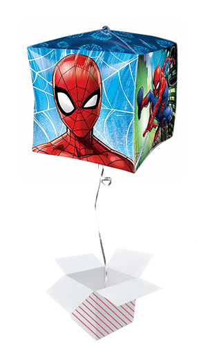Spider-Man Cubez Foil Helium Balloon - Inflated Balloon in a Box Product Gallery Image