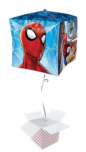 Spider-Man Cubez Foil Helium Balloon - Inflated Balloon in a Box