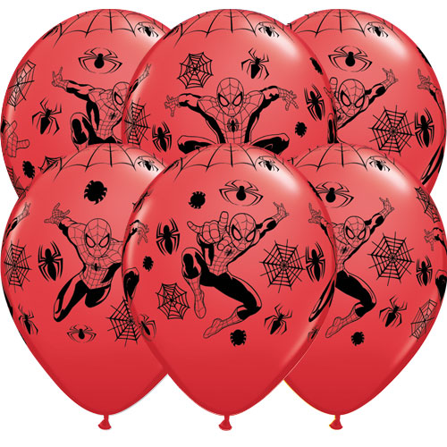 Spider-Man Red Latex Helium Qualatex Balloons 30cm / 12 in - Pack of 6 Bundle Product Image