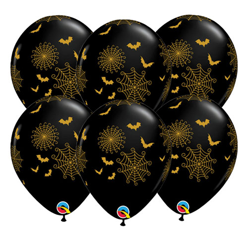 Spider Webs And Bats Halloween Latex Helium Qualatex Balloons 28cm / 11Inch – Pack of 25 Product Image