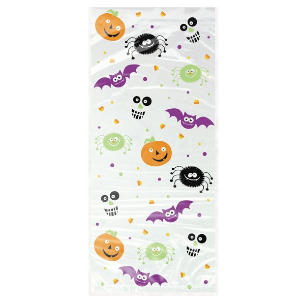 Spooky Smiles Halloween Theme Cello Bags with Twist Ties - Pack of 20