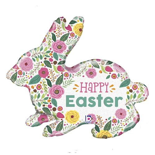 Spring Flowers Easter Bunny Holographic Helium Foil Giant Balloon 81cm / 32 in