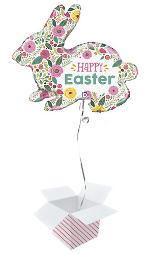 Spring Flowers Easter Bunny Helium Foil Giant Balloon - Inflated Balloon in a Box