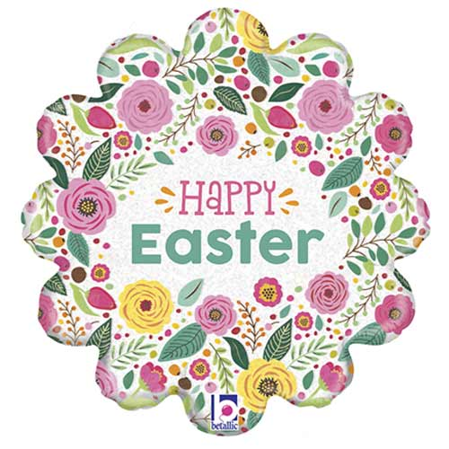 Happy Easter Spring Flowers Holographic Foil Helium Balloon 46cm / 18 in