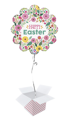 Spring Flowers Easter Holographic Foil Helium Balloon - Inflated Balloon in a Box