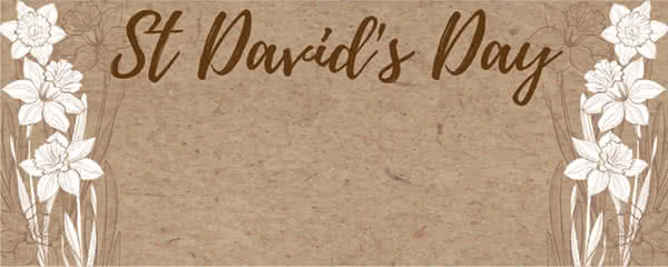 St Davids Day White Daffodil Design Medium Personalised Banner - 6ft x 2.25ft