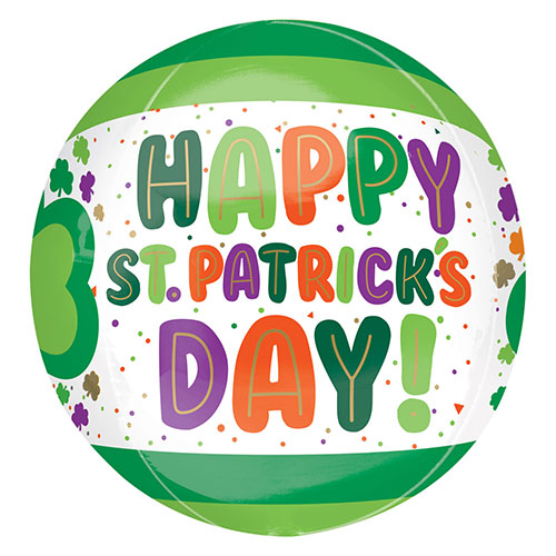 St. Patrick's Day Dots & Shamrocks Orbz Foil Helium Balloon 38cm / 15 in Product Image
