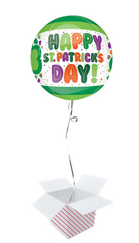 St. Patrick's Day Dots & Shamrocks Orbz Foil Helium Balloon - Inflated Balloon in a Box