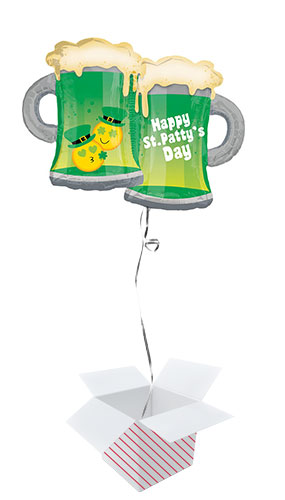 St. Patrick's Day Emoji Mugs Helium Foil Giant Balloon - Inflated Balloon in a Box