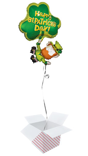 St. Patrick's Day Leprechaun & Shamrock Helium Foil Giant Balloon - Inflated Balloon in a Box Product Image