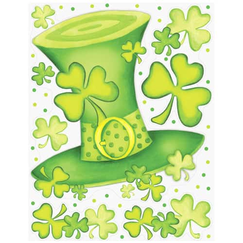 St Patricks Day Lucky Stripes Window Clings Decoration 43cm Product Image