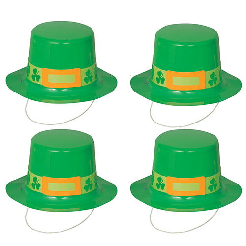 St. Patrick's Day Plastic Mini Top Hats - Pack of 4