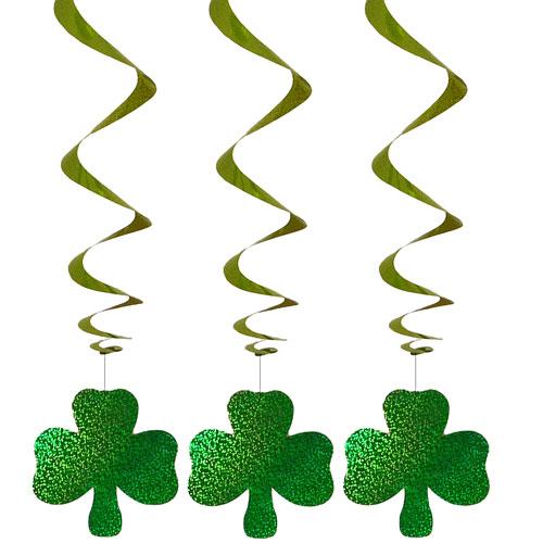 St Patricks Day Shamrock Swirl Hanging Decorations - Pack of 3
