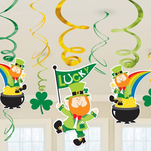St. Patrick's Hanging Swirl Decorations - Pack of 12