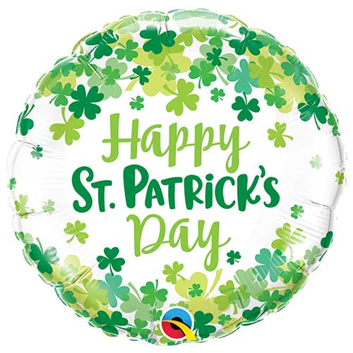 St. Patrick's Shamrock Confetti Round Foil Helium Balloon 46cm / 18 in Product Image