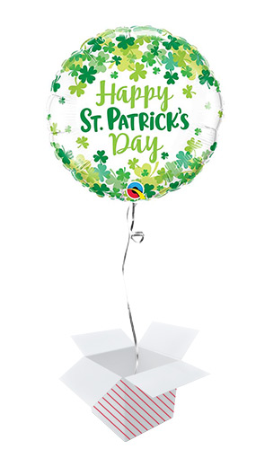 St. Patrick's Shamrock Confetti Round Foil Helium Balloon - Inflated Balloon in a Box