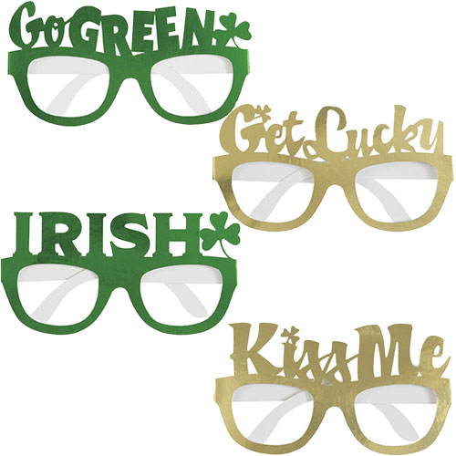 St. Patrick's Day Assorted Foil Cardboard Novelty Glasses - Pack of 4