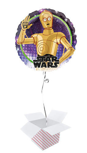 Star Wars C-3PO Round Foil Helium Balloon - Inflated Balloon in a Box Product Image