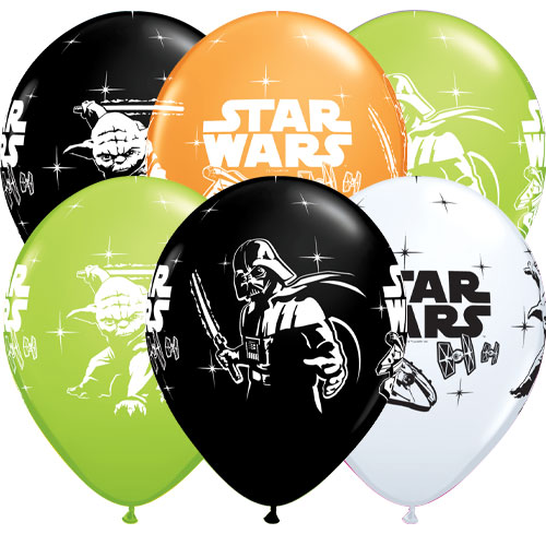 Star Wars Darth Vader & Yoda Assorted Latex Helium Qualatex Balloons 30cm / 12 in - Pack of 6 Product Image