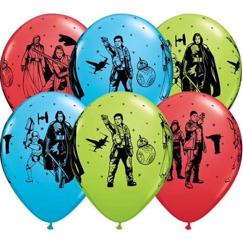 Star Wars The Last Jedi Assorted Latex Helium Qualatex Balloons 30cm / 12 in - Pack of 6 Bundle Product Image