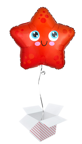 Starfish Standard Shaped Foil Helium Balloon - Inflated Balloon in a Box Product Image