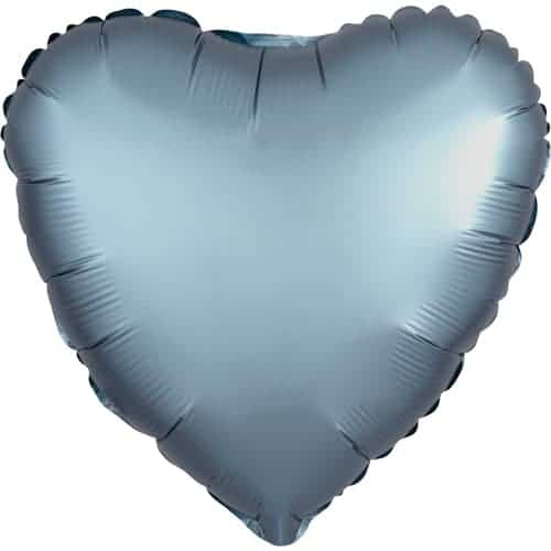 Steel Blue Satin Luxe Heart Foil Helium Balloon 43cm / 17Inch Product Image