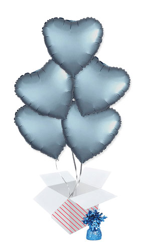 Steel Blue Satin Luxe Heart Foil Helium Balloon Bouquet - 5 Inflated Balloons In A Box Product Image