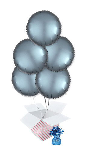 Steel Blue Satin Luxe Round Foil Helium Balloon Bouquet - 5 Inflated Balloons In A Box Product Image