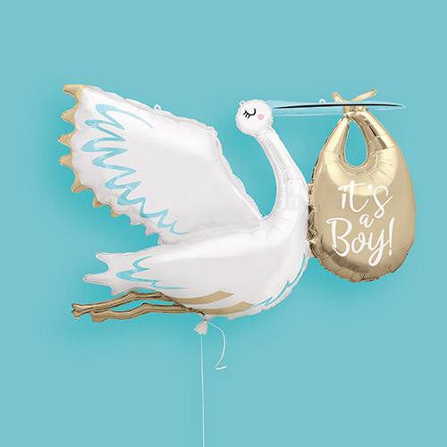 Stork It's a Boy Baby Shower Helium Foil Giant Balloon 157cm / 62 in Product Image
