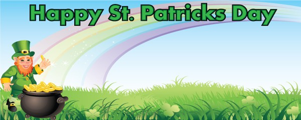 Happy St. Patricks Day Rainbow Design Small Personalised Banner- 4ft x 2ft