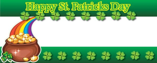 Happy St. Patricks Day Gold & Rainbow Design Large Personalised Banner - 10ft x 4ft