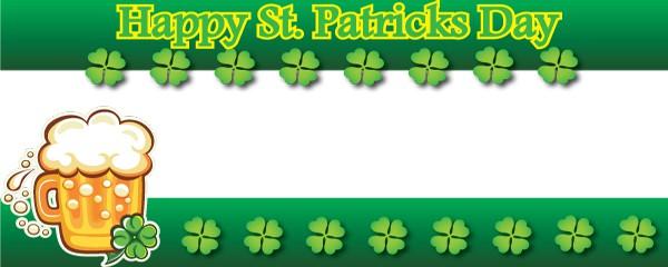 Happy St. Patricks Day Beer Mug Design Medium Personalised Banner - 6ft x 2.25ft