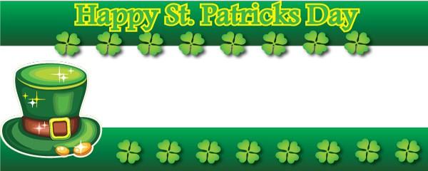 Happy St. Patricks Day Leprechaun Hat Design Medium Personalised Banner - 6ft x 2.25ft