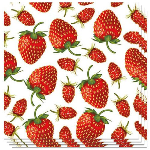Strawberries Design Luncheon Napkins 3 Ply - 33cm - Pack of 20