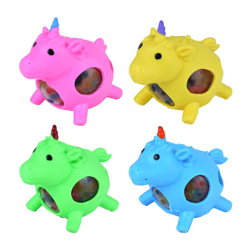 Stress Relief Squishy Squeeze Unicorn Toy With Beads 9cm