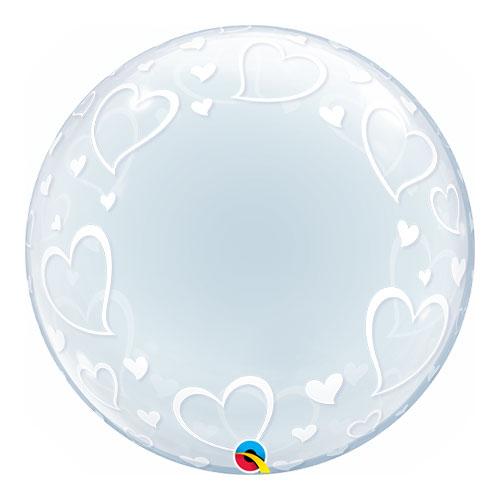 Stylish Hearts Deco Bubble Helium Qualatex Balloon 61cm / 24 in Product Image