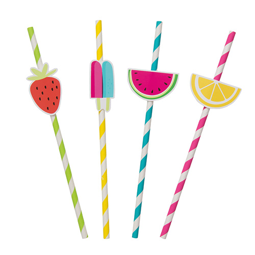 Summer Fruits Striped Paper Straws - Pack of 8 Product Image