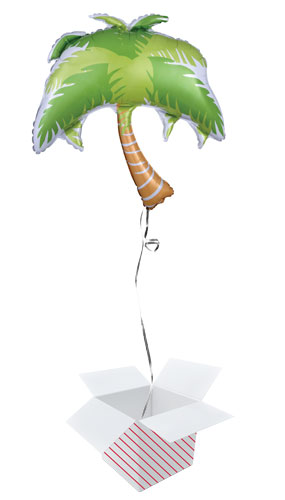 Summer Scene Palm Tree Helium Foil Giant Balloon - Inflated Balloon in a Box