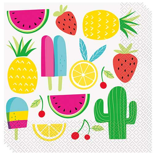 Summer Sweet & Succulent Luncheon Napkins 33cm 2ply - Pack of 16