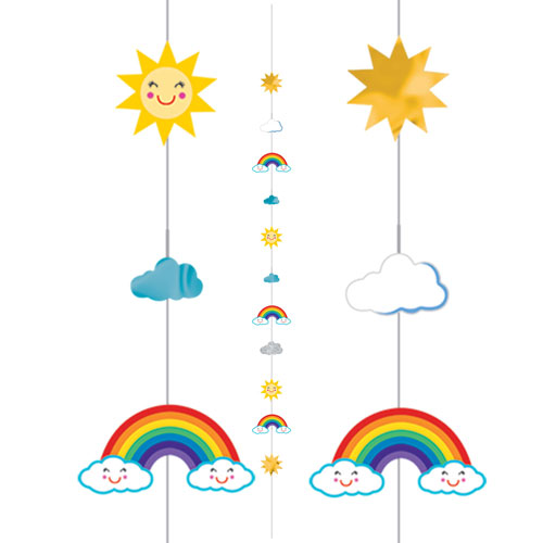 Sun Rainbow And Clouds Fun String Balloon Tail 182cm Product Image